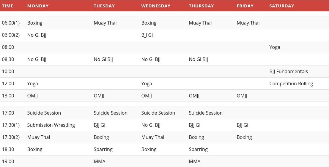 PFA Training Schedule